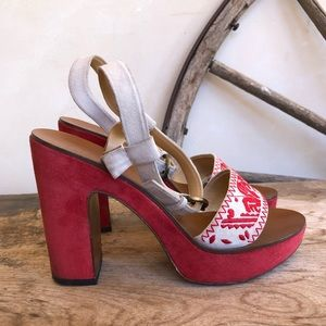 MIU MIU by PRADA Tribal Embroidered Platform Heels